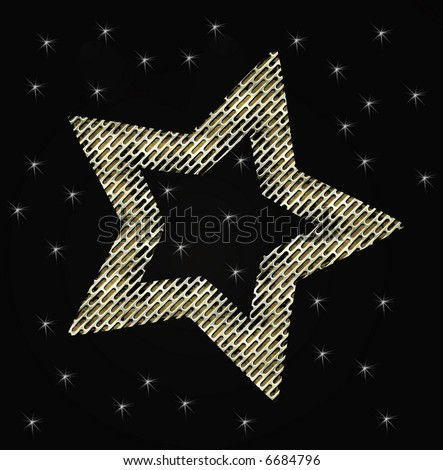 gold stars background. stock photo : Gold Star With