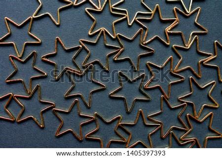 Gold stars background. Background of many stars. #1405397393