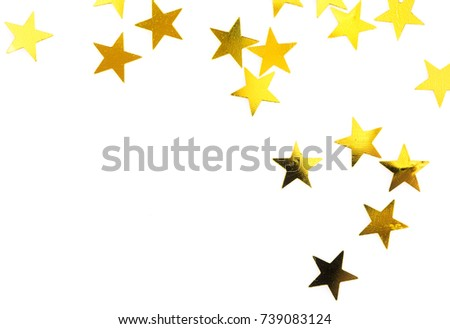 gold stars isolated on white background with copy space #739083124