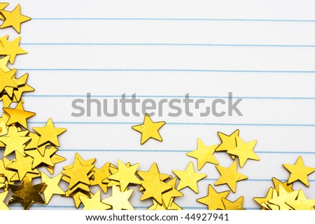 Gold Stars Making A Border On A Lined Paper Background Gold Star – Lined Border Paper