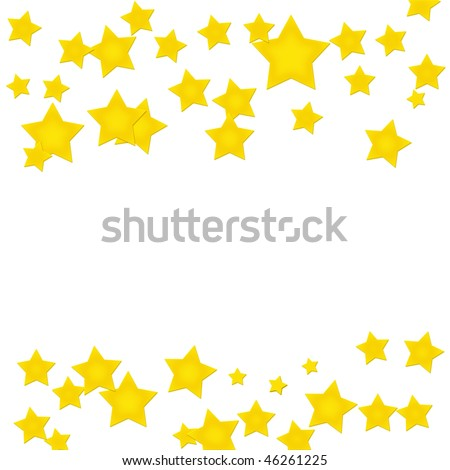 Gold stars making a border on a white background, gold star border