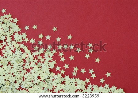 Gold stars on a red flock background.  Note that three corners of the image have been left spare to allow for alteration of the canvas size to suit various design requirements.