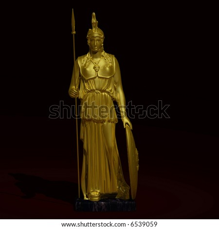 Gold statue of goddess Athena Image contains a Clipping Path / Cutting Path for the main object
