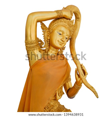 Gold Statue of Phra Mae Thorani or Mother Earth Goddess, woman wringing the water of detachment out of her hair in thailand temple. Isolated on white background.
