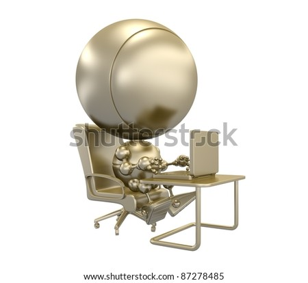 Gold statuette with businessman that opens his laptop
