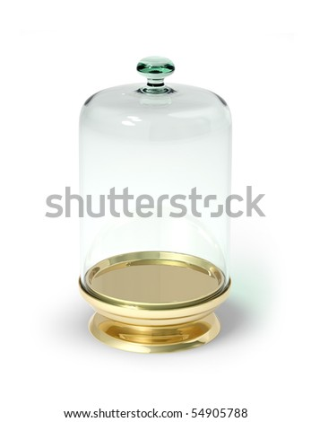 Gold stay with glass bell isolated 3d model