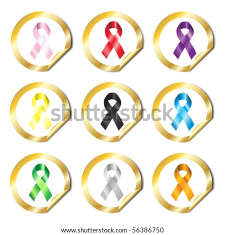 Gold stickers with awareness ribbons in various colours.