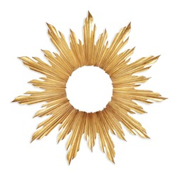 Gold Sunburst Venetian Accent Wall Mirror in Sun-Ray Frame Isolated. Decorative Golden Sun Vintage Art Deco Beveled Round Mirror for Living Room and Bedrooms. Wall Mounted Classic Circular Mirror