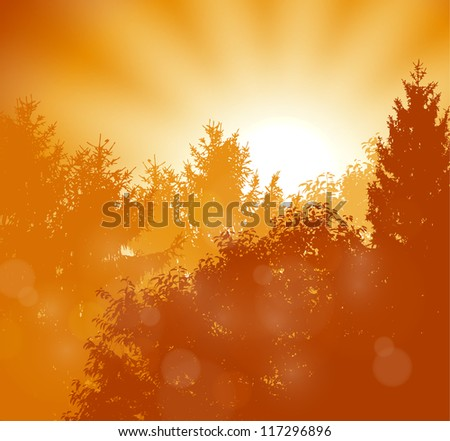 Gold Sunrise scene with forest - RASTER VERSION