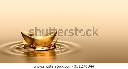 Gold Sycee (Yuanbao) drop on liquid gold
