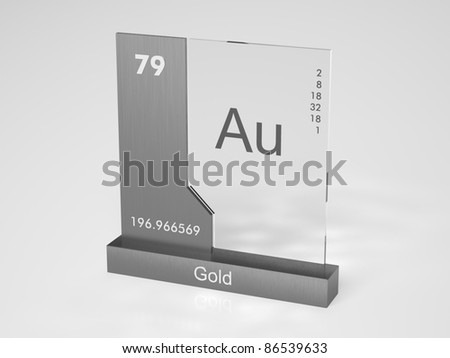 Gold - symbol Au - chemical element of the periodic table