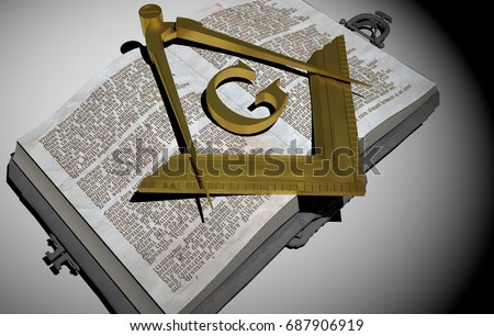 Gold symbol of the Freemasonry, Masonry or Masonic square and Compasses, over old Book. White Background. 3D Rendering. Stock photo ©