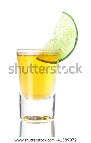 Gold Tequila with lime slice isolated on white background - stock photo