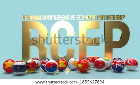 gold text rcep or Regional Comprehensive Economic Partnership and ball flag 3d rendering. Foto d'archivio ©