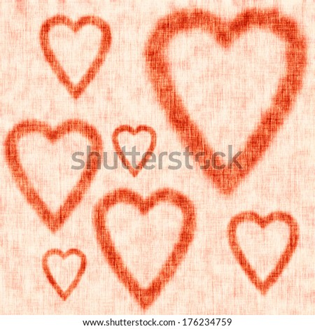 Gold textured background, linen texture, heart shaped frames, Valentine\'s Day Card, greeting card, wedding invitation