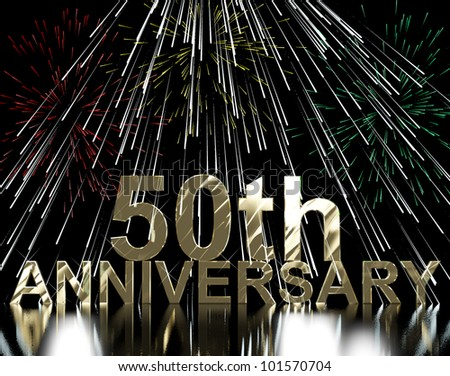 Gold 50th Anniversary With Fireworks For Celebration Or Parties