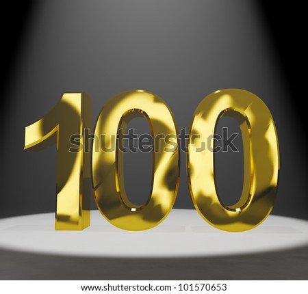Gold 100th 3d Number Closeup Representing Anniversary Or Birthdays - stock photo