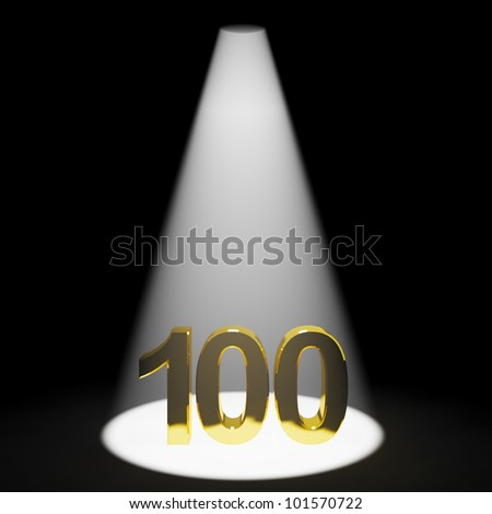 Gold 100th 3d Number Representing Anniversary Or Birthdays