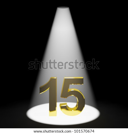 Gold 15th Or Fifteen 3d Number Represents Anniversary Or Birthday