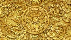 Gold Thai art of sculpture pattern in Thailand.
