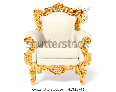 gold throne and crown on white