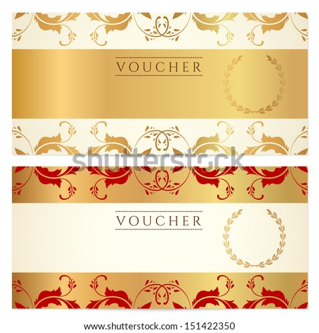 Gold Ticket Voucher Gift Certificate Coupon Template With – Ticket Voucher Template