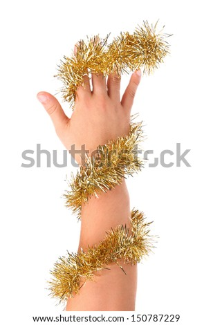 Gold tinsel twined hand. Isolated on a white background.