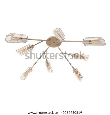 Gold tone chandelier on a white background. Chandelier for apartment decor