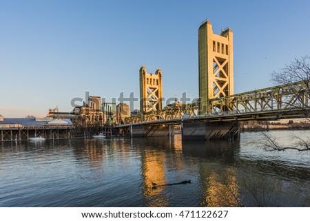 Gold Tower Bridge in Sacramento, California  #471122627