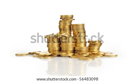 Gold towers made out of gold coins