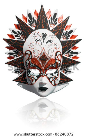 Gold traditional venetian carnival mask isolated on white. Venice, Italy.