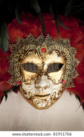 Gold traditional venetian carnival mask. Venice, Italy.