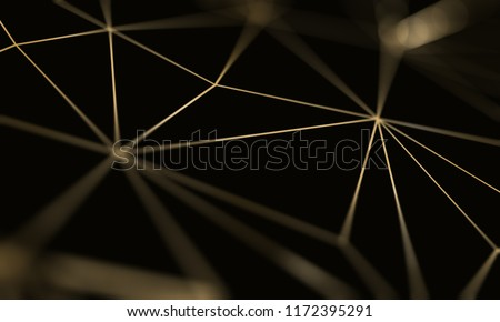 Gold triangle pattern line on black background. Premium luxury geometric pattern. Triangular golden light seamless texture