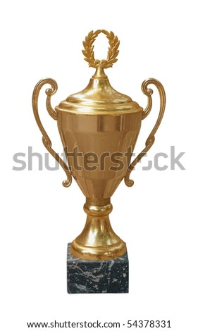 Gold trophy cup isolated on white