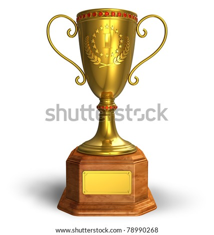 Gold trophy cup isolated on white background