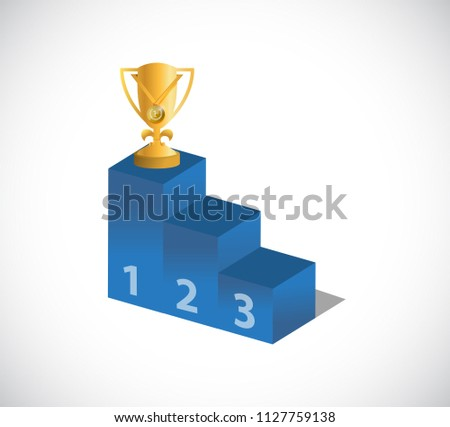 Gold Trophy Cup on top of the leader podium. bussiness concept illustration. isolated over a white background