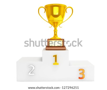 Gold Trophy Cup over pedestal on a white background