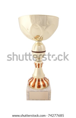 gold trophy with empty label isolated on white background