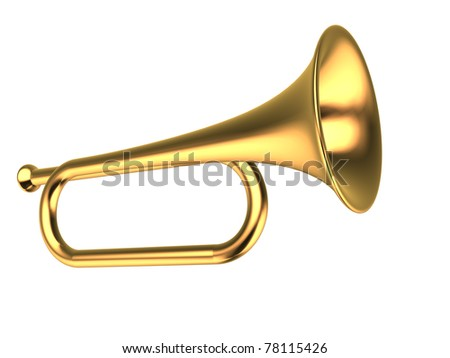 Gold trumpet on white background - This is a 3d render illustration