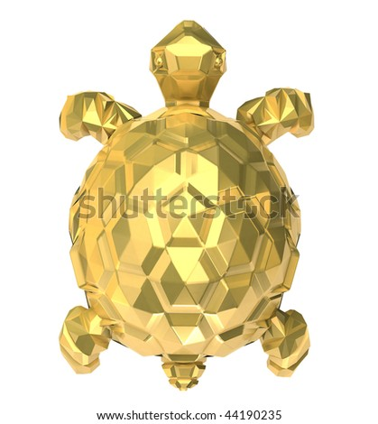 Gold turtle on white. 3D image.