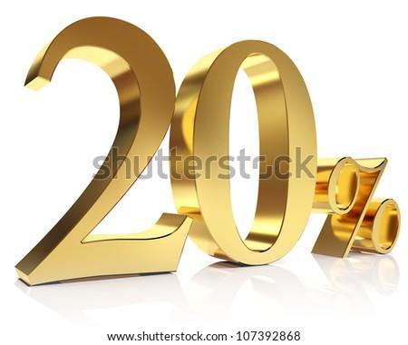 Gold twenty percent discount symbol