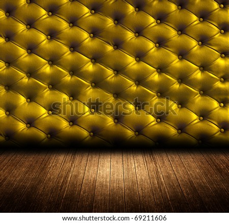 gold upholstery leather wall with wooden floor