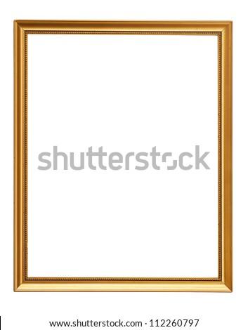 Gold vintage frame. Elegant vintage gold/gilded picture frame with beading. Isolated on white.