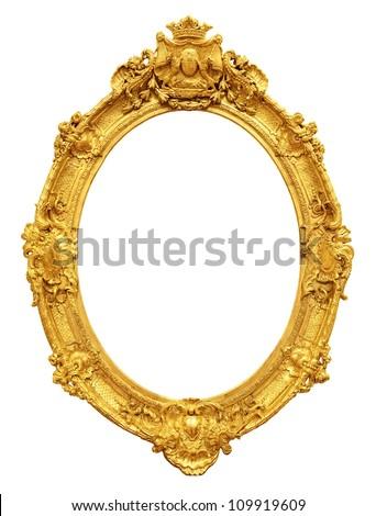 Gold vintage frame isolated on white background #109919609