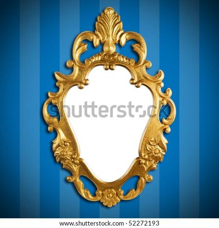 gold vintage metal frame on wall