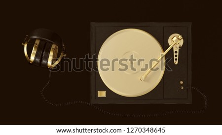 Gold Vintage Turntable Record Player with Headphones 3d illustration 3d render