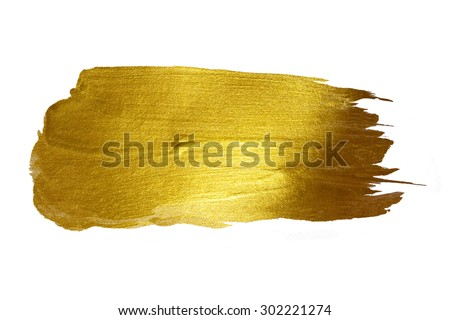 Gold watercolor texture paint stain abstract illustration. Shining brush stroke for you amazing design project #302221274