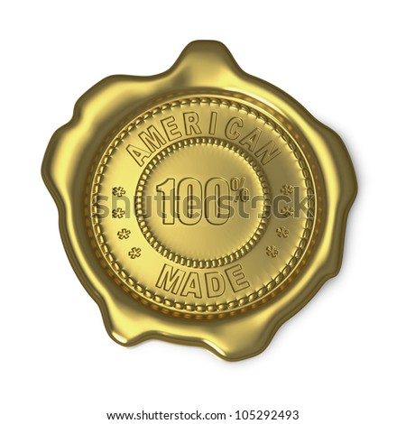Gold wax seal with American Made text on white background