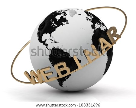 Gold Webinar and gold ring diagonally, abstraction of the inscription around the earth on a white background