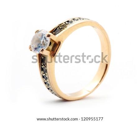 Gold wedding rings isolated on white background